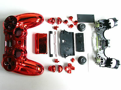 Chrome RED Housing Shell Full Mod Kit for PS4 Controller incl motherboard CADDY