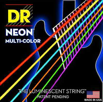 DR Neon Multi-Coloured High Definition Luminescent Electric Guitar Strings Hi-De