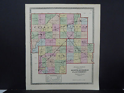 Illinois Map, 1875 Counties of Fayette, Effingham, Clay & Marion Q1#83
