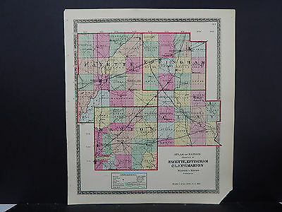 Illinois Map, 1875 Counties of Fayette, Effingham, Clay & Marion Q1#84