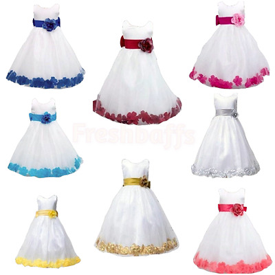 Stunning Flower girls Bridesmaid Princess Wedding Loose Petals Dress With Bow