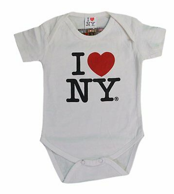 White I Love NY Baby Bodysuit Boy Girl New York Newborn 6m 12m 18m 24m NYC Gift
