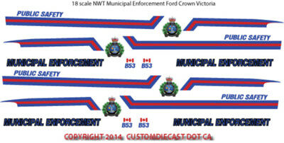 1/18 Scale Nwt Northwest Territories Decals For Crown Victoria -  Does 4 Cars