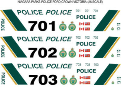 1/26 Scale Niagara Parks Police Decals -  Does 4 Fcv Cars New Release!!!!
