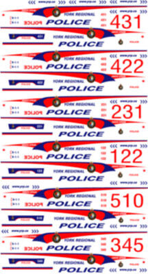 1/43 Scale York Regional Police Decals -  For Frr Chev Tahoe - New Release!
