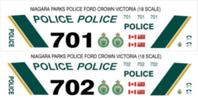 1/18 Scale Niagara Parks Police Decals -  Does 2 Fcv Cars New Release!!!!