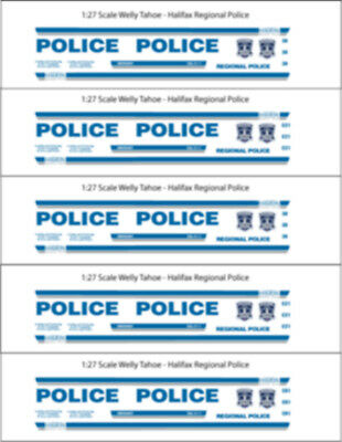 1/26 Scale Halifax Regional Police Decals -  For Welly Chev Tahoe - New Release!