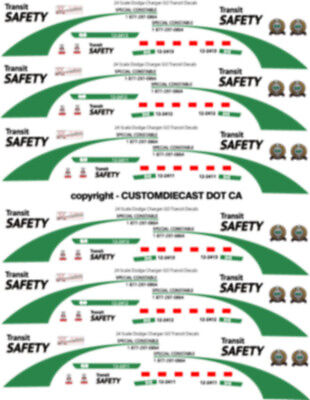 1/43 Scale Go Transit Safety Dodge Charger Decals -  Does 8 Cars New Release!!!!