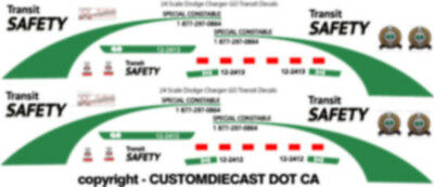 1/18 Scale Go Transit Safety Dodge Charger Decals -  Does 2 Cars New Release!!!!