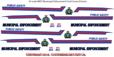 1/43 Scale Nwt Northwest Territories Decals For Crown Victoria -  Does 8 Cars