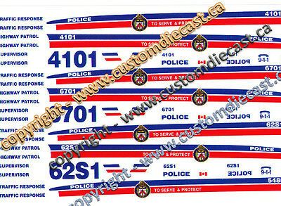 1/26 Scale Toronto Police Decals -  Does 3 Cars - Bilbozo Decals