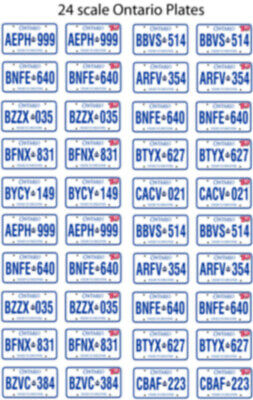 Ontario Canada License Plate Decals For 1:43 Scale Cars
