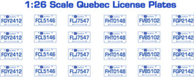 Quebec Canada License Plate Decals For 1:26 Scale Cars