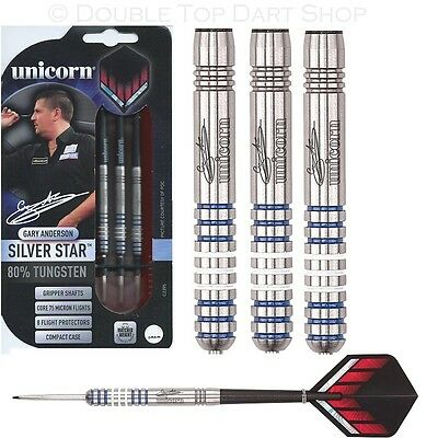 Gary Anderson Silver Star 80% Tungsten Steel Tip Darts by Unicorn - Full Set