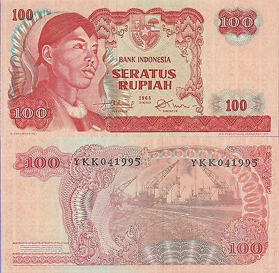 Indonesia 100 Rupiah Banknote 1968 About Uncirculated Condition Cat#108