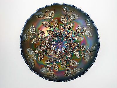 """Fenton Holly And Berry Carnival Glass Bowl With Saw Tooth Edge 8"""""""
