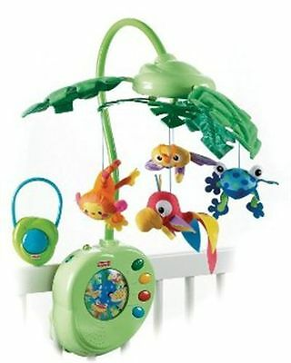 Pre-owned Fisher Price Rainforest Peek-A-Boo Leaves Musical Mobile WORKS GOOD