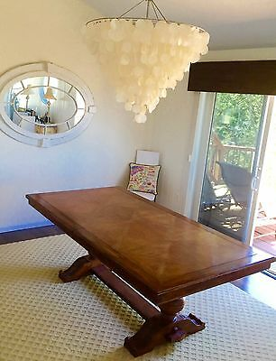 """French Country Light Oak Dining Table Set  82""""-119"""" (9 pieces)"""