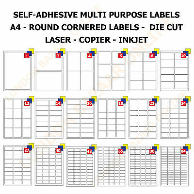 A4 Address Labels Self Adhesive Sheets Inkjet Copier Laser Printer Office