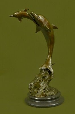 Hot Cast Mother and Baby Dolphin Bronze Sculpture Marble Base Figurine Figure
