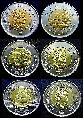 2012 - Canada - SCARCE Set of 3 Different Varieties 2 $ Toonies - 3 Pcs all UNC