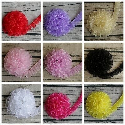 """20MM 3/4"""" WIDE Various Colours Gathered Chiffon Lace TRIMMING - 1, 3 & 5 Metre"""