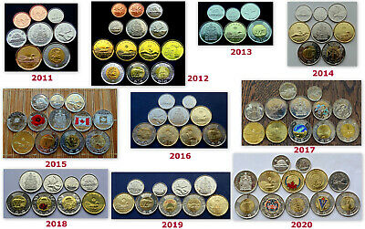 Group Lot of Ten (10) 2011~2020 Year Sets: 87 Colored &Plain Coins 1c-2$ all UNC