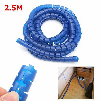 2.5M Flexible Spiral PC Cable Cord Power Wire Management Organizer Wrap w/ Clip