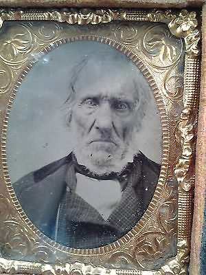 Antique 19th Century Ambrotype Photograph in Nice Case Scary Old Business Man