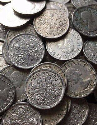Lucky Sixpences UK 2.5 Pence Coins English 1953 - 1970 - Choose your Birth Year