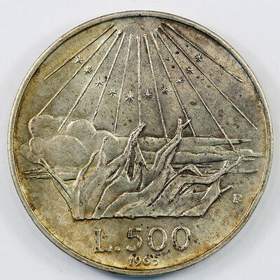 Italy 1965 500 Lire Coin Toned Uncirculated