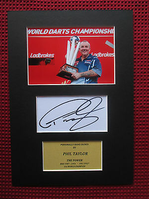 PHIL TAYLOR THE POWER GENUINE SIGNED DARTS CARD w/ PHOTO A4 MOUNTED DISPLAY- COA