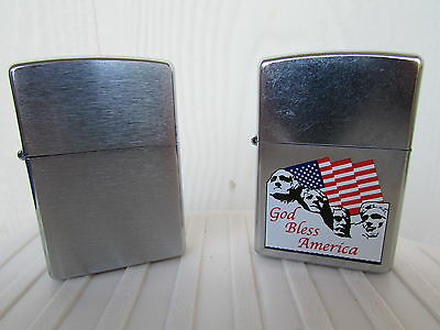 Pair New Vintage Zippo Lighters Chrome Finish & God Bless America Mount Rushmore
