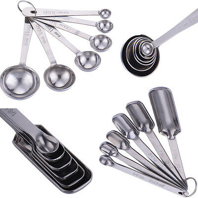 6PCS Stainless Steel Round Square Baking Cooking Measuring Cup Spoons Sets