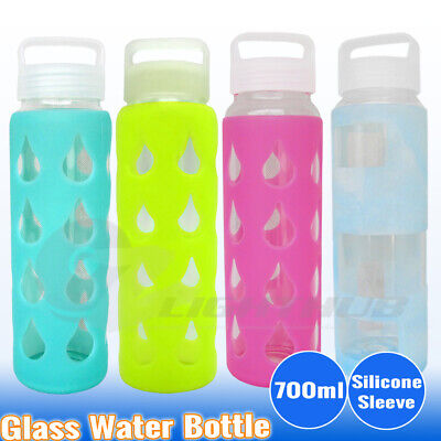 700ml Glass Water Bottle  Sport Outdoor Silicone Sleeve kettle cup BPA Free