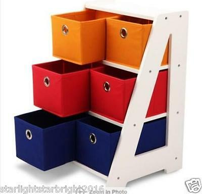 Kids Storage Display Unit Toy Rack 3 Tier Nursery Organiser Fabric Basket Boxes