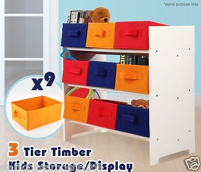 Kids Storage Display Unit Toy Rack Nursery Organiser 3 Tier Fabric Basket Boxes