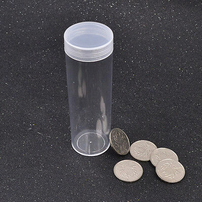 Round Storage Tube Plastic Container Box Clear Portable Coin Holder New