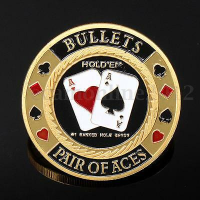 Metal ACES Poker Guard Card Protector Coin Chip Gold Plated + Round Plastic Case