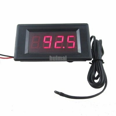 12V Red Digital Fahrenheit degree Thermometer High Low Alarm -76~257 Temperature