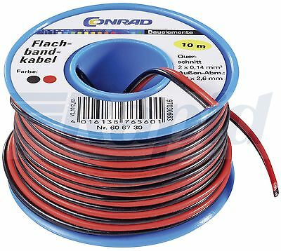 Conrad 93014c444 2 Core Stranded Cable Black and Red 10m