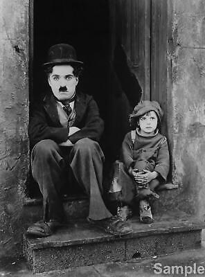 Charlie Chaplin The Kid Film Actor Glossy Black & White Photo Picture Print A4