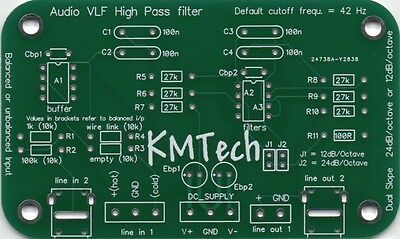 Audio Vlf High Pass Filter With Balanced Or Unbalanced Input Pcb Only Diy