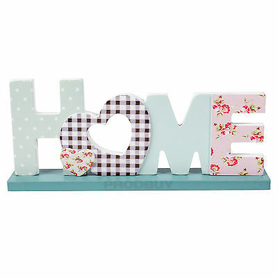 Patchwork Freestanding HOME Letters Word Art Ornament Decor Object Item Plaque
