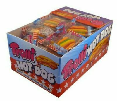 60 x Trolli Hot Dog Individually Wrapped Lollies Bulk Sweets Party Favours Candy