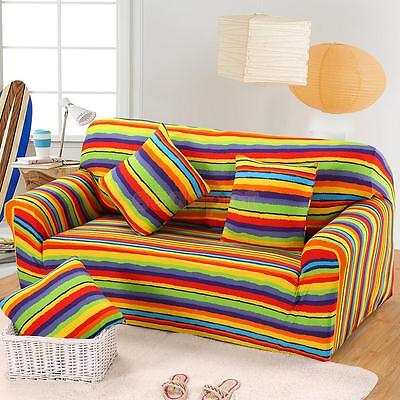 Spandex Textured Couch 3-Seat Sofa Seat Case Chair Cover Slipcover-Rainbow