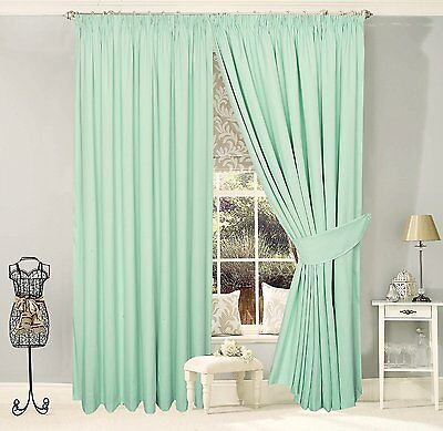 100% Cotton Fully Lined Pencil Pleat Curtains, Duck Egg Blue - Milan