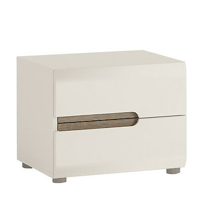 Chelsea white gloss with truffle oak trim 2 drawer bedside cabinet