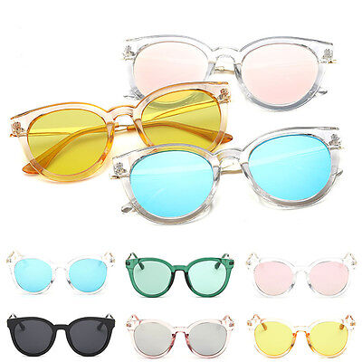 Retro Women Flat Lens Mirrored Metal Frame Glasses Oversized Cat Eye Sunglasses