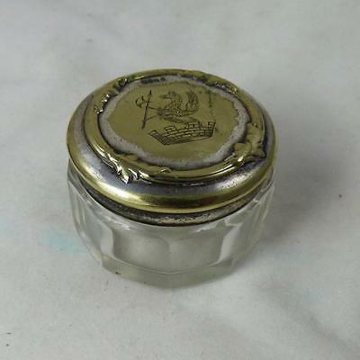 ARMORIAL DESIGN COAT of ARMS HERALDRY GRIFFIN ANTIQUE GLASS SMALL VANITY JAR